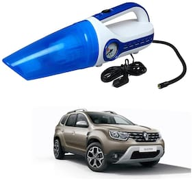 Oshotto 2 in 1 Car Vacuum Cleaner Cum Tyre inflator/Air Compressor for Renault Duster (White;Blue)