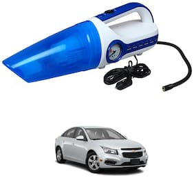 Oshotto 2 in 1 Car Vacuum Cleaner Cum Tyre inflator/Air Compressor for Chevrolet Cruze (White;Blue)