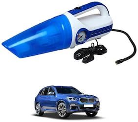 Oshotto 2 in 1 Car Vacuum Cleaner Cum Tyre inflator/Air Compressor for BMW X3 (White;Blue)