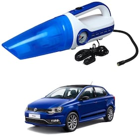 Oshotto 2 in 1 Car Vacuum Cleaner Cum Tyre inflator/Air Compressor for Volkswagen Ameo (White;Blue)