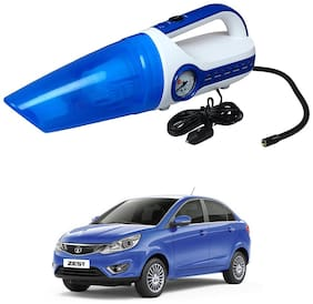 Oshotto 2 in 1 Car Vacuum Cleaner Cum Tyre inflator/Air Compressor for Tata Zest (White;Blue)
