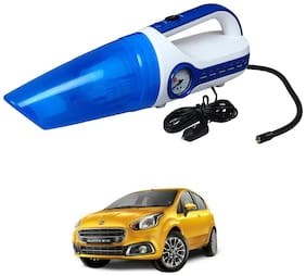 Oshotto 2 in 1 Car Vacuum Cleaner Cum Tyre inflator/Air Compressor for Fiat Punto (White;Blue)