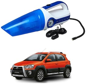 Oshotto 2 in 1 Car Vacuum Cleaner Cum Tyre inflator/Air Compressor for Toyota Etios Cross (White;Blue)