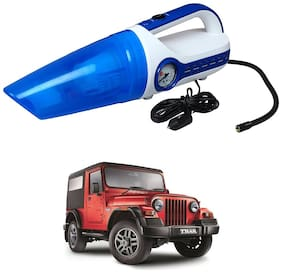 Oshotto 2 in 1 Car Vacuum Cleaner Cum Tyre inflator/Air Compressor for Mahindra Thar (White;Blue)