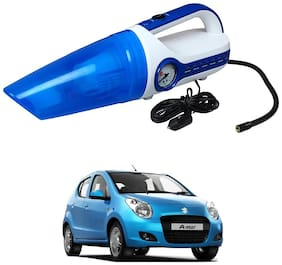Oshotto 2 in 1 Car Vacuum Cleaner Cum Tyre inflator/Air Compressor for Maruti Suzuki A-Star (White;Blue)