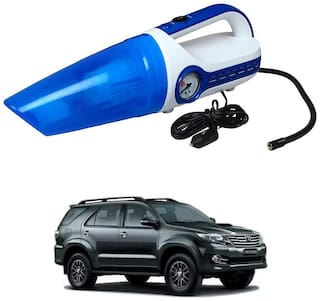 Oshotto 2 in 1 Car Vacuum Cleaner Cum Tyre inflator/Air Compressor for Toyota Fortuner Old (White;Blue)