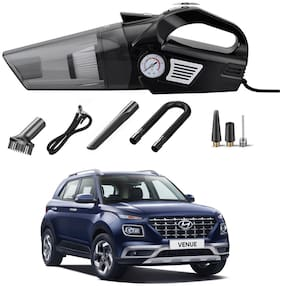 Oshotto 3-in-1  Tire Inflator Portable Car Vacuum Cleaner,with Tire Pressure Gauge and LED Light,12V DC Air Compressor Pump,15FT Cord with HEPA Filter and Nozzles Compatible with Hyundai Venue