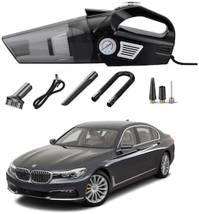 Oshotto 3-in-1  Tire Inflator Portable Car Vacuum Cleaner,with Tire Pressure Gauge and LED Light,12V DC Air Compressor Pump,15FT Cord with HEPA Filter and Nozzles Compatible with BMW 7 Series