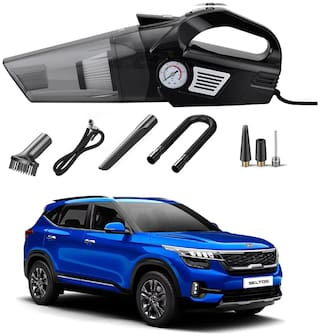 Oshotto 3-in-1  Tire Inflator Portable Car Vacuum Cleaner,with Tire Pressure Gauge and LED Light,12V DC Air Compressor Pump,15FT Cord with HEPA Filter and Nozzles Compatible with KIA Seltos