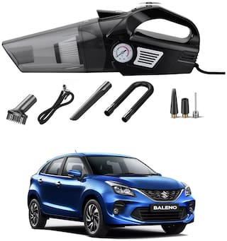 Oshotto 3-in-1  Tire Inflator Cum Car Vacuum Cleaner,with LED Light,12V DC Air Pump,15FT Cord with HEPA Filter and Nozzles Compatible with Maruti Suzuki Baleno