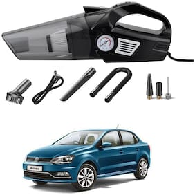 Oshotto 3-in-1  Tire Inflator Portable Car Vacuum Cleaner,with Tire Pressure Gauge and LED Light,12V DC Air Compressor Pump,15FT Cord with HEPA Filter and Nozzles Compatible with Volkswagen Ameo