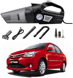 Oshotto 3-in-1  Tire Inflator Portable Car Vacuum Cleaner,with Tire Pressure Gauge and LED Light,12V DC Air Compressor Pump,15FT Cord with HEPA Filter and Nozzles Compatible with Toyota Etios