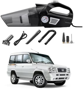 Oshotto 3-in-1  Tire Inflator Portable Car Vacuum Cleaner,with Tire Pressure Gauge and LED Light,12V DC Air Compressor Pump,15FT Cord with HEPA Filter and Nozzles Compatible with Tata Sumo/Victa