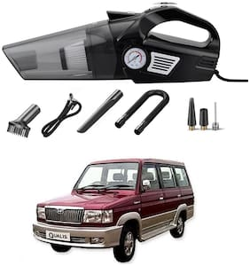 Oshotto 3-in-1  Tire Inflator Portable Car Vacuum Cleaner,with Tire Pressure Gauge and LED Light,12V DC Air Compressor Pump,15FT Cord with HEPA Filter and Nozzles Compatible with Toyota Qualis