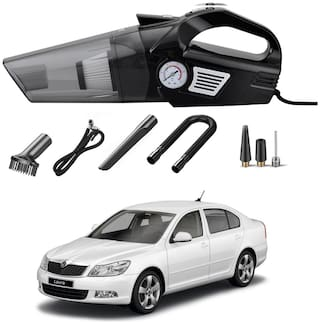 Oshotto 3-in-1  Tire Inflator Portable Car Vacuum Cleaner,with Tire Pressure Gauge and LED Light,12V DC Air Compressor Pump,15FT Cord with HEPA Filter and Nozzles Compatible with Skoda Laura