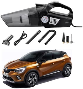 Oshotto 3-in-1  Tire Inflator Portable Car Vacuum Cleaner,with Tire Pressure Gauge and LED Light,12V DC Air Compressor Pump,15FT Cord with HEPA Filter and Nozzles Compatible with Renault Captur
