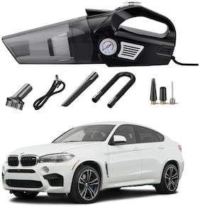 Oshotto 3-in-1  Tire Inflator Portable Car Vacuum Cleaner,with Tire Pressure Gauge and LED Light,12V DC Air Compressor Pump,15FT Cord with HEPA Filter and Nozzles Compatible with BMW X6