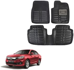Oshotto 4D Black Artifical Leather Car Mat Compatible with Honda Amaze Set of 3 (2 Pcs Front and 1 Rear Long Piece)