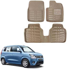 OSHOTTO 4D Beige Artifical Leather Car Mat For Maruti WAGON-R