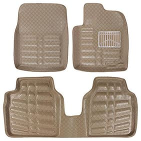 Oshotto 4D Beige Artifical Leather Car Mat Compatible with Honda Amaze Set of 3 (2 Pcs Front and 1 Rear Long Piece)
