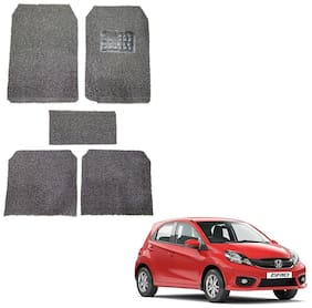 Oshotto Anti Skid Curly Noodle Grass 12mm Car Foot/Floor Mats for Honda Brio (Set of 5;Black)