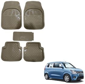 Oshotto Anti Skid Rubber Car Tray Foot Mat for Maruti Wagon-r 2019 (Set of 5;Beige)