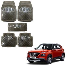Oshotto Anti Skid Transparent Rubber Car Tray Foot Mat for Hyundai Venue (Set of 5;Black Transparent)