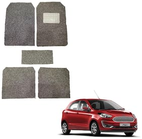 Oshotto Anti Skid Curly Noodle Grass 12mm Car Foot/Floor Mats for Ford Figo (Set of 5;Beige)