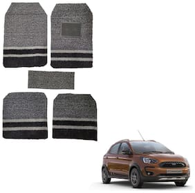 Oshotto Anti Skid Curly Noodle Grass 18mm Car Foot/Floor Mats for Ford Freestyle (Set of 5;Black;Grey)