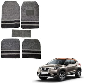 Oshotto Anti Skid Curly Noodle Grass 18mm Car Foot/Floor Mats for Nissan Kicks (Set of 5;Black;Grey)