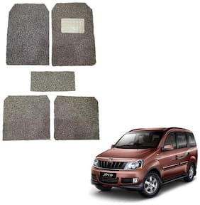 Oshotto Anti Skid Curly Noodle Grass 12mm Car Foot/Floor Mats for Mahindra Xylo/Quanto (Set of 5;Beige)