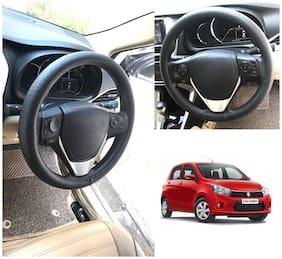 Oshotto Artifical Leather Car Steering Cover Compatible with Maruti Suzuki Celerio/Celerio X (Black)
