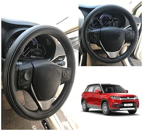 Oshotto Artifical Leather Car Steering Cover Compatible with Maruti Suzuki Brezza (Black with White Thread)