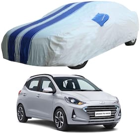 Oshotto/Recaro X5 Grey/Blue 100% Waterproof Car Body Cover with Mirror Pockets for Hyundai i10 Nios