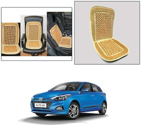 Oshotto Car Wooden Bead Seat Cushion with Velvet Border Compatible with Hyundai i20 Elite 2014-2020 - (Beige)