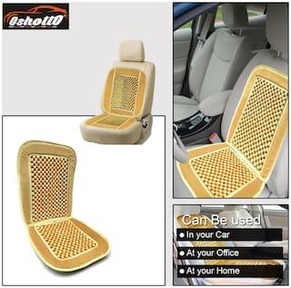 OSHOTTO Car Wooden Bead Seat Cushion with Velvet Border for Hyundai I-20 - (Beige) - Set of 1