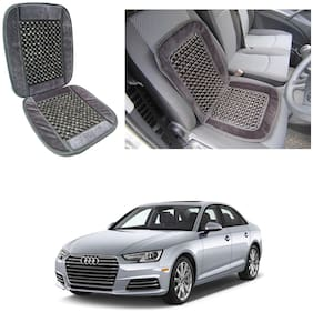 Oshotto Car Wooden Bead Seat Cushion with Velvet Border Compatible with Audi A4 2017 -2021 - Grey