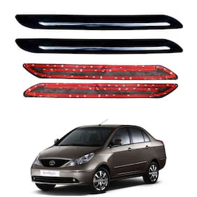 Oshotto Car Black Rubber Bumper Protector with Single Chrome line for Tata Indigo -(Set of 4 pcs)