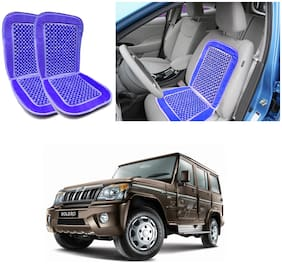 Oshotto Car Wooden Bead Seat Cushion with Velvet Border Compatible with Mahindra Bolero - (Blue) Set of 2