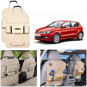 Oshotto Car Backseat Storage Organizer Phone Holder, MultiPocket for Bottles, Tissue Boxes, Kids Toy Storage and Great Travel Accessory Compatible with Volkswagen Polo (Set of 2)  Beige