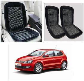 Oshotto Car Wooden Bead Seat Cushion Velvet Border Compatible with Volkswagen Polo - (Black) Set of 2
