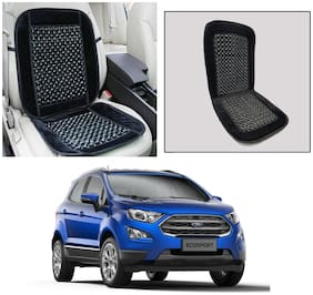 Oshotto Car Wooden Bead Seat Cushion Velvet Border Compatible with Ford Eco Sports - (Black)