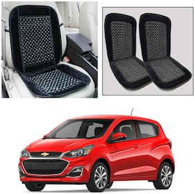 Oshotto Car Wooden Bead Seat Cushion with Velvet Border Compatible with Chevrolet Spark - (Black) Set of 2