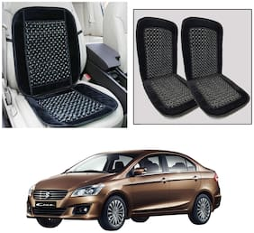 Oshotto Car Wooden Bead Seat Cushion Velvet Border Compatible with Maruti Ciaz - (Black) Set of 2