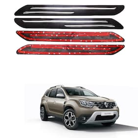 Oshotto Car Black Rubber Bumper Protector with Double Chrome line for Renault Duster -(Set of 4 pcs)