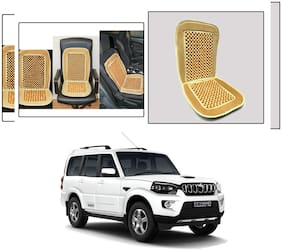 Oshotto Car Wooden Bead Seat Cushion with Velvet Border Compatible with Mahindra Scorpio - (Beige)