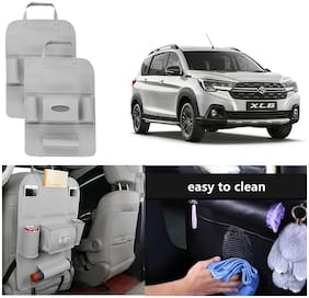 Oshotto Car Backseat Storage Organizer Phone Holder, MultiPocket for Bottles, Tissue Boxes, Kids Toy Storage and Great Travel Accessory Compatible with Maruti Suzuki XL6 (Set of 2)  Grey