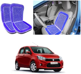 Oshotto Car Wooden Bead Seat Cushion with Velvet Border Compatible with Maruti Celerio - (Blue) Set of 2