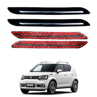 Oshotto Car Black Rubber Bumper Protector with Single Chrome line for Maruti Suzuki Ignis -(Set of 4 pcs)