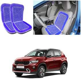 Oshotto Car Wooden Bead Seat Cushion with Velvet Border Compatible with Kia Sonet - (Blue) Set of 2